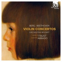 Isabelle Faust plays Berg and Beethoven violinconcertos with Claudio Abbado and Mozart Orchestra at a new CD from Harmonia Mundi.