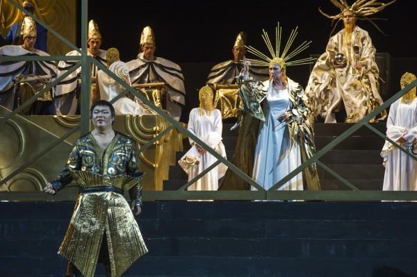 Turandot. Rudy Park (Calaf) left, and  Casolla (Turandot (right. Foto Puccini Festival