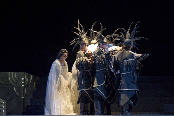 Turandot  . Casolla (Turandot) (left) at, liù's funeral  . Foto Puccini Festival