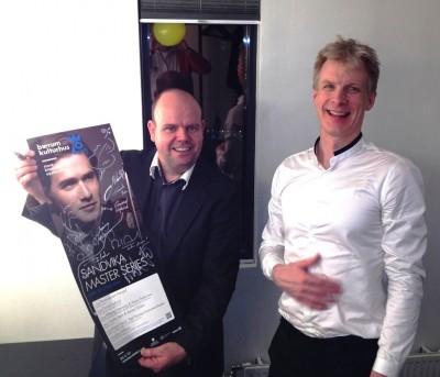En berømt solist, den verdensberømte klarinetisten Martin Frøst, som gjestet Bærum Kulturhus sammen med Det Norske Kammerorkester i Mars mnd i 2014, sammen med Tore Johansen. Foto Henning Høholt- 2014
