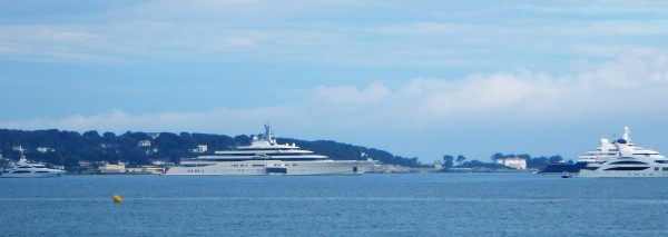 """""""Eclipse"""" 163 meters long is standby outside Cap d'Antibes east of Cannes."""