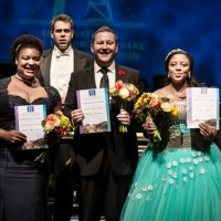 From left to right: RAEHANN BRYCE-DAVIS(3rd Prize),NICHOLAS BROWNLEE(1stPrize),NOLUVUYISO MPOFU(2nd Prize + Audience Prize). In the back: Conductor Kamal Khan of the Cape Town Philharmonic Orchestra.