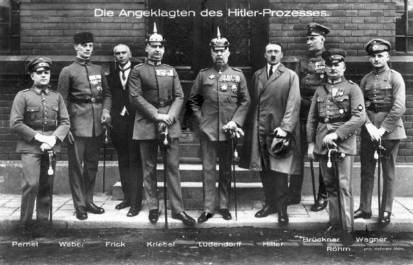 "Postcard showing the key players in the failed ""Beer Hall Putsch,"" 1924, Hitler in the midle right."