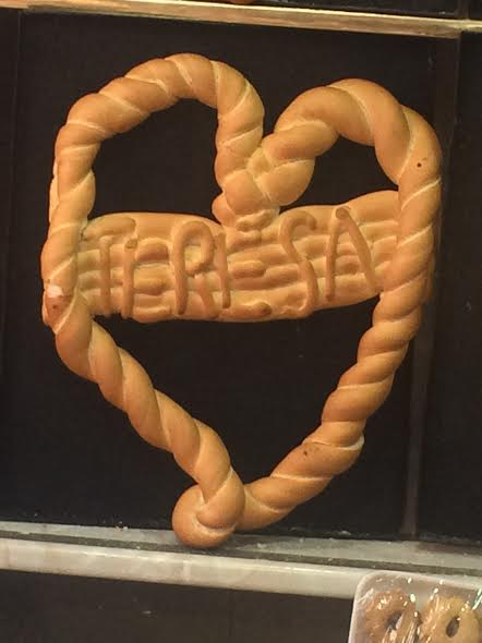 Artistic bread in Chinchon, Spain, What about a heart with the name of the one you love?