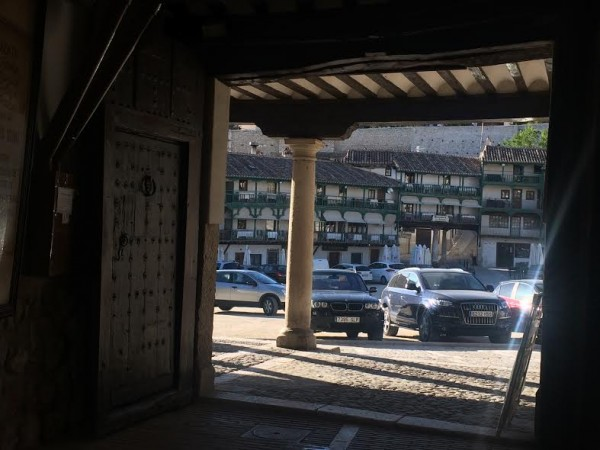 Charming view out from the bakery entrance overlooking the famouse Grand square /unfortubately used as parking space, when it is  not in use as place for bullfighting in the August to October periode.