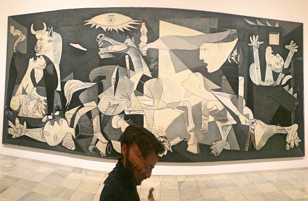 Guernica in Museo Reina Sofia, widescreen with our excellent guide in front
