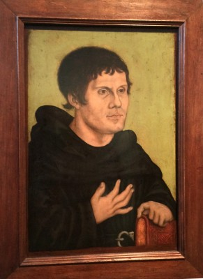 Posthum portrait of Martin Luther as Augoustiner Monk. painted by the Cranach studio. 1546. At Germanisches National Museum Nürnberg. Foto: Henning Høholt