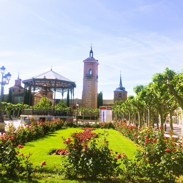 Kirken Santa María la Mayor hvor Cervantes ble døpt i Alcalá de Henares. Torget foran den er nå kalt Plaza Cervantes. Med musikkpaviljongen. Foto Henning Høholt